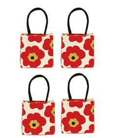 Take a look at this Chili Red Poppy Itsy Bitsy Tote - Set of Four by rockflowerpaper on #zulily today! $22 !!