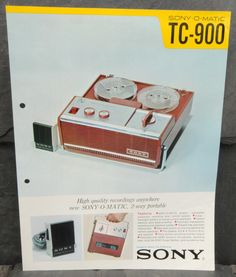Original 1960's Sony-O-Matic TC-900 Portable Reel-to-Reel Two-Track Recorder Brochure from Japan. See my other listings for more great historical pieces and much much more. | eBay!
