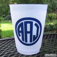 Monogrammed heavy plastic cups $1.50 (150 for 100)