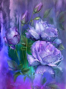 Rose Mixed Media - Raindrops On Lavender Roses by Carol Cavalaris