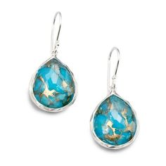 Ippolita Wonderland Bronze Turquoise, Clear Quartz  Sterling Silver... ($450) ❤ liked on Polyvore featuring jewelry, earrings, silver, clear quartz earrings, sterling silver earrings, sterling silver jewelry, quartz earrings and green turquoise earrings