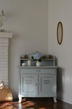 Cottage Fix blog - silvery sage chest in our cottage living room
