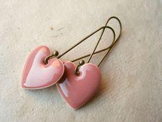 Rose Heart Earrings Dusty Rose Pink Enamel Hearts by PiggleAndPop, $12.00