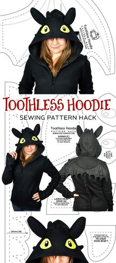 I have a new pattern hack on my main site today that might help people out for Halloween :) WIth it you can make a Toothless hoodie – either out of my cosplay hoodie pattern or your own. Toothless Pattern, Toothless Hoodie, Toothless Costume, Dragon Hoodie, Toothless Dragon, Hoodie Pattern, Plush Pattern, Free Pattern, Sewing Hacks