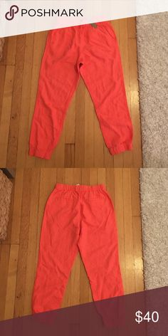 """J.Crew Seaside Pant Elastic waist pants made from a drapey blend of linen and Tencel. Crazy comfortable! Sits at hip, straight leg and 25 1/2"""" inseam. Never been worn! J. Crew Pants Ankle & Cropped"""