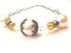 Necklace Black Pearl and Amber Large Chunky Pearl by CindyDidIt