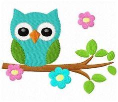 Owl On A Flower Tree - 3 Sizes!   Mini Designs   Machine Embroidery Designs   SWAKembroidery.com Fun Stitch