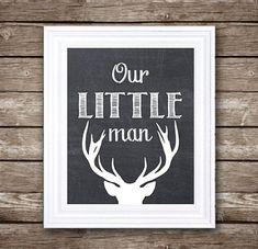 Téléchargement de notre petit homme - cerf Silhouette - pépinière imprimable Art - instantanée - 5 x 7, 8 x 10, 11 x 14 et 16 x 20.