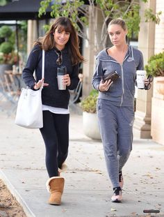 Lea Michele and Becca Tobin leaving Le Pain Quotitien restaurant