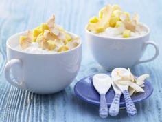 Kokos-Milchreis mit Mango und Limette: ideal als kleine Hauptmahlzeit für alle, die gern Süßes essen. Mit viel Vitamin A und C!