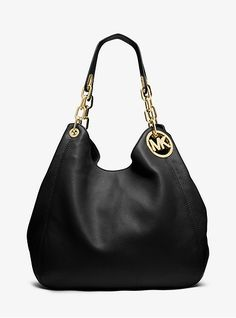 968d1850b2ba Michael Kors Medium Pebbled Leather Tote Shoulder Bag Fulton Chain ...