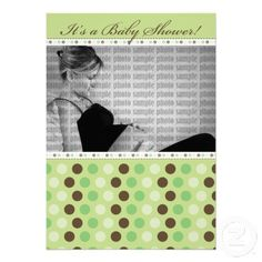 Chocolate Lime Dots Baby Shower Invitation