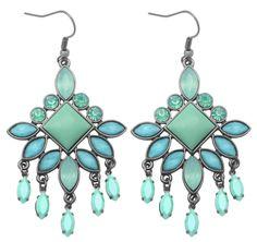 Bijou Brigitte  Drop Earrings - Green Stones