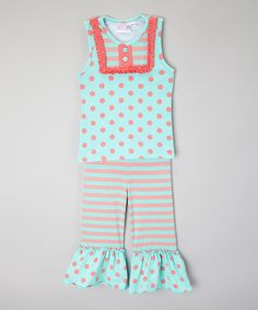 Look at this One Posh Kid Coral & Mint Top & Ruffle Pants - Infant, Toddler & Girls on #zulily today!