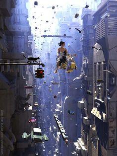 Girl on a Scooter [( Science-fiction dystopia future noir Blade Runner cyberpunk night skylines dark city Metropolis )] Cyberpunk City, Ville Cyberpunk, Arte Cyberpunk, Futuristic City, Futuristic Architecture, 3d Fantasy, Fantasy Landscape, Science Fiction Kunst, Science Art