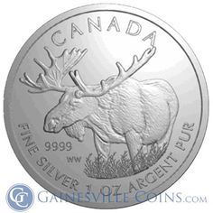 2012 1 oz Silver Canadian #Moose Coin From The Canadian Wildlife Series http://www.gainesvillecoins.com/buy-silver.aspx