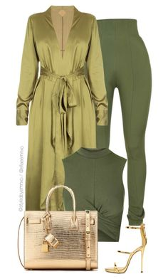 Khaki x Gold by efiaeemnxo on Polyvore featuring Topshop, Balmain, Giuseppe Zanotti, Yves Saint Laurent, sbemnxo and styledbyemnxo