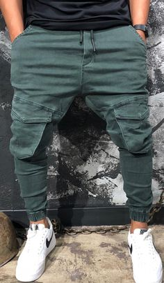 the shoes or the joggers casual PANTs Denim Cargo Pants, Mens Jogger Pants, Mens Trousers Casual, Men Casual, Casual Wear, Casual Pants, Blazer Fashion, Mens Fashion, Ripped Jeans Men