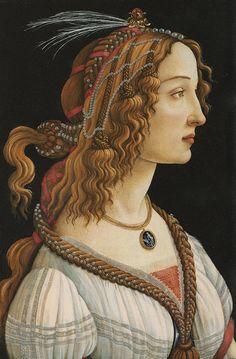 Sandro Botticelli, Simonetta Vespucci as a nymph (Epic renaissance hair....tassles!