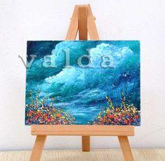 Blue Stormy Ocean skies 3x4 inches original by valdasfineart