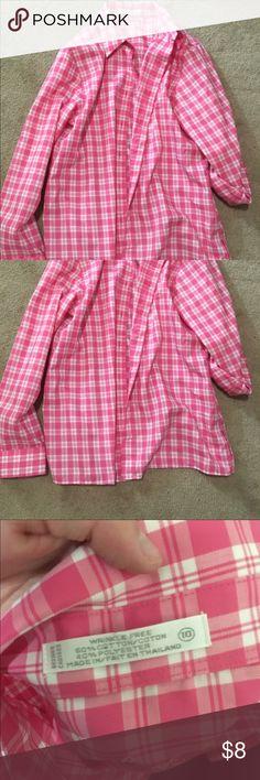 Bottom down shirt Comfortable pink and white button down shirt Tops Button Down Shirts