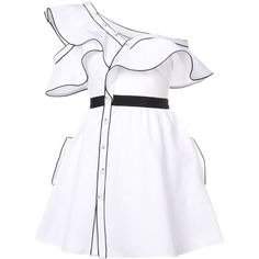 Self Portrait Frill Flared Dress ($475) ❤ liked on Polyvore featuring dresses, clothing /, kirna zabete, flouncy dress, black and white dress, frilled dress, button dress and black white dress