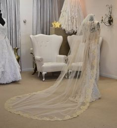 White and Gold Wedding Veil. Gold Lace Mantilla Veil Cathedral Length by CouturesbyLaura