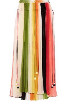 CHLOÉ Striped Silk-Crepon Maxi Skirt. #chloé #cloth #skirts