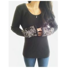 """Black Embroidered Sleeve Thermal Top This top has a thermal like fabric with long embroidered & slightly flared sleeves. This top has a cool boho vibe, it's unique & extremely comfortable.. {actual color of item may vary slightly from photos}  •shoulders:19"""" •chest:19.5"""" •waist:17""""w •length:25"""" •sleeve:26""""  Material:100%cotton  ️machine wash  Fit:true Condition:no rips no stains  ❌no holds ❌no trades ♥️️bundles of 3/more items get 20% off Long Elegant Legs Tops"""