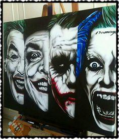 Evoloution of the joker Der Joker, Joker Art, Joker And Harley Quinn, Joker Images, Joker Pics, Comic Books Art, Comic Art, Joker Painting, Outdoor Fotografie