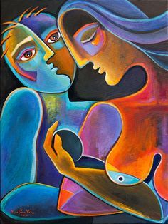 Cubiste peinture abstraite moderne Art Original acrylique Scoubidou Vera oeuvre Fruit d'amour Couple amour mère père mère père Madre figuratif