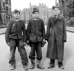German boys pressed into service as AA gun crew. Berlin, April 1945.