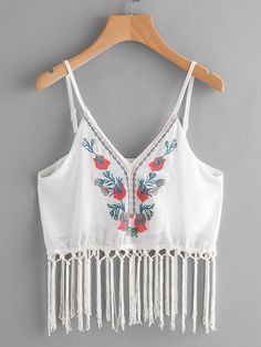 SheIn offers Embroidery Fringe Trim Chiffon Cami Top & more to fit your fashionable needs. Outfits For Teens, Trendy Outfits, Girl Outfits, Cute Outfits, Fashion Outfits, Casual Skirt Outfits, Crop Top Outfits, Stylish Dresses, Look Fashion