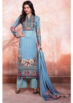 Blue Woolen Satin Salwar Kameez, - £82.00, #PakistaniSalwarKameez #DesignerDresses #ShopNow #Shopkund
