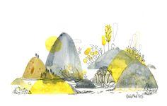 galets de lune, aquarelle, Cécile Hudrisier
