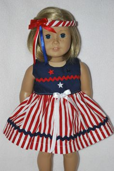 """Doll clothes fit 18"""" American girl doll made in the USA.by Grandma 4 July 4th"""