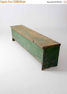 circa early century This is an antique primitive wood trunk bench. Rustic, painted green wood shapes the long bench. Large iron hinges open the seat to a single compartment interior. Primitive Furniture, Country Furniture, Country Decor, Antique Furniture, Painted Furniture, Diy Furniture, Primitive Bedroom, Small Furniture, Country Homes