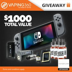 "Nintendo Switch, IPV8, Fuchai 213, Aspire Cleito, Smok AL85 Kit & 1080ml E-Juice Giveaway  Check out the site above for all you ""Vapers!!!"""
