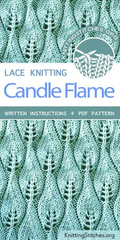 Candle Flame Stitch Pattern is found in the Eyelet and Lace Stitches category. Candle Flame Stitch Pattern is found in the Eyelet and Lace Stitches category. Lace Knitting Stitches, Crochet Stitches Patterns, Knitting Charts, Loom Knitting, Knitting Patterns Free, Embroidery Patterns, Easy Knitting, Loom Patterns, How To Purl Knit
