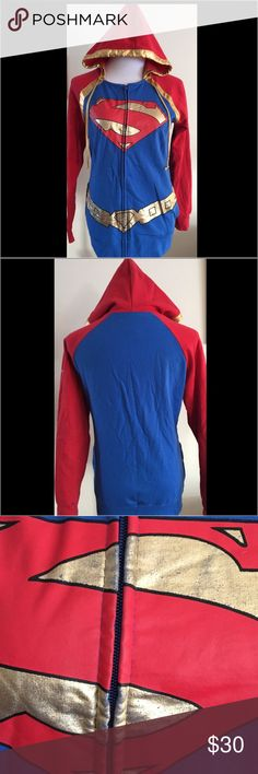 SUPERMAN Sweatshirt! SUPERMAN Zippered Sweatshirt!. Great used condition. Two pockets. Little signs of wear on the gold emblem. See the last picture, #3. Love it! You may consider bundling with the dog tag in my closet! Superman Tops Sweatshirts & Hoodies