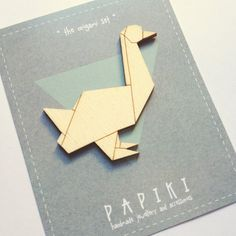 SALE / Origami goose hand painted wooden brooch by papiki on Etsy, €6.00