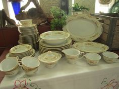 Jyoto Bone China Dinnerware Set Vintage by EuphoricDepressions