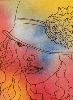THE HAT - An Original Artwork - Ink Drawing on Abstract Watercolor Painting - One Continuous Contour Line of a Face. $45.00, via Etsy.