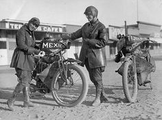 In 1916, two society women in their 20s, sisters Adeline and Augusta Van Buren were the first people ever to climb up and down Pikes Peak. They bought a pair of Indian Powerplus Bikes, and completed a transcontinental ride. Their 3,300-mile trip took almost two months, and they had to contend not only with many unpaved roads, but also with social mores. Once they were arrested for publicly wearing trousers.