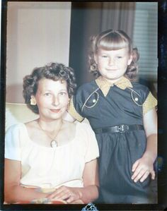 Vintage Kodachrome Color Print Photo..Mother and Daughter