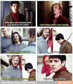 Come on, Leon. (Merlin defends Arthur through sass- reasons why this show is the best) Colin Morgan, Merlin Funny, Merlin Memes, Merlin Quotes, Sherlock Quotes, Bradley James, It's Over Now, Merlin And Arthur, Merlin