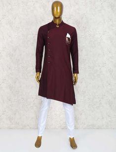 Wine maroon wedding wear kurta suit for men Casual Wedding Suit, Wedding Suits, Indian Men Fashion, Mens Fashion Wear, Maroon Wedding, Wedding Wear, Pathani For Men, Pathani Kurta, Fashion News