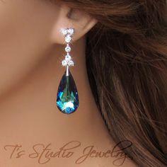 Peacock Blue Chandelier Bridal Bridesmaid Earrings Crystal Teardrop Silver Rhinestone- MARISSA. $40.00, via Etsy.