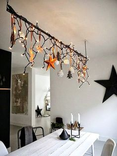 weihnachten With an IKEA lamp! Tropical Home Decor 2 Article Body: Who wouldn't love to have their h Christmas 2017, Christmas And New Year, Winter Christmas, All Things Christmas, Christmas Lights, Christmas Crafts, Christmas Chandelier, Christmas Kitchen, Christmas Branches