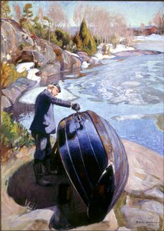 Pekka Halonen – Boat tarring 1908 (oil) (from On the Shores of the Lake @ Ateneum Art Museum, Helsinki). See my exhibition review on sixeyedcat.wordpress.com